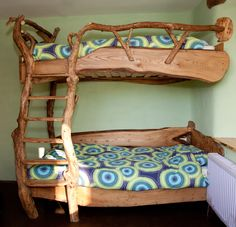 The Mud and Wood bunk beds, made by Colin Ritchie, from windfall trees (trees blown down by the wind).