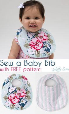 Sewing Baby Gift Keep your baby dry - Sew a Drool Bib with a FREE baby bib pattern - Melly Sews - Use this free baby bib pattern to sew a drool bib Baby Bibs Patterns, Dress Patterns, Sewing Patterns, Easy Baby Blanket, Diy Bebe, Bib Pattern, Sewing Projects For Beginners, Free Baby Stuff, Baby Crafts