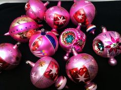 PINK GLASS XMAS ORNAMENTS Vintage Poland Mica Indents Jumbo Large Christmas Lot