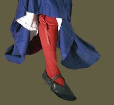 Medieval Clothing and Footwear- Ladies Silk Stockings. Stocking were made as a tube, with no shaping to fit.