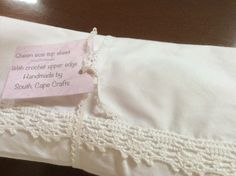 Cotton percale top sheet with crocheted trim by South Cape Crafts White Linens, Cotton Crochet, White Shorts, Cape, Handmade, Crafts, Beautiful, Fashion, White Bed Sheets