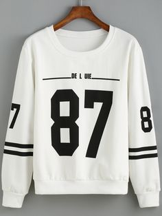 Round+Neck+Number+Print+Striped+Sweatshirt+11.99