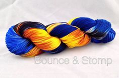 Blue Box Exploding is a hand painted yarn colorway inspired by the painting Blue Box Exploding.