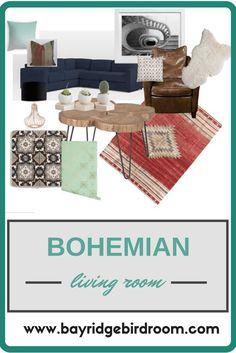 Bohemian Living Room | Eclectic Living Room | Unique Home Design | Kilim | Handpainted Tile | Leather | www.bayridgebirdroom.com