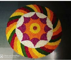 Flower Rangoli, Rangoli Designs, Flower Decorations, Flower Art, Christmas Tree, Rugs, Holiday Decor, Flowers, Home Decor