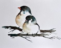 ORIGINAL Watercolor Painting Two Small Birds Illustration 6x9.5 Inch