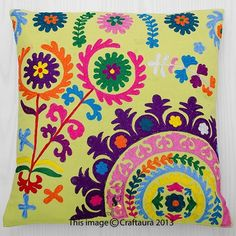 Indian Embroidered Decorative Floral Throw Pillow Suzani Ethnic Cushion Cover | eBay