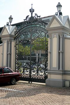 Our Gate House Welcomes Your Home Gate Design, Main Gate Design, Fence Design, Door Design, House Design, Metal Gates, Wrought Iron Gates, Front Gates, Entrance Gates