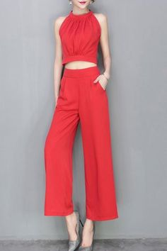 Trendy Sleeveless Crop Top + Solid Color Wide-Leg Pants Women's Twinset