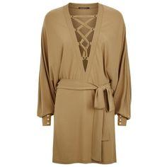 Balmain Lace Up Jersey Dress ($2,465) ❤ liked on Polyvore featuring dresses, balmain, jersey cocktail dress, brown party dress, party dresses and balmain dress