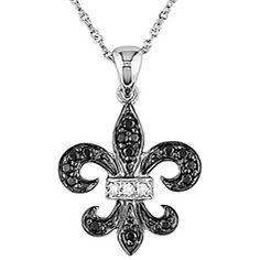 @Overstock - Add a lovely touch to any outfit with this 10-karat gold black and white diamond necklace. The stunning fleur de lis design is accented by the sparkling of the stones for elegance. The princess-length chain has a spring ring clasp to keep it secure.http://www.overstock.com/Jewelry-Watches/Miadora-10k-Gold-1-8ct-Black-and-White-Diamond-Fleur-De-Lis-Necklace/3464909/product.html?CID=214117 $149.99