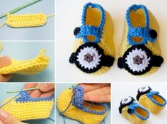 Minion Booties Free Crochet Pattern༺✿ƬⱤღ  https://www.pinterest.com/teretegui/✿༻