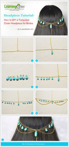Headpiece Tutorial-How to DIY a Turquoise Chain Headpiece for Girls Head Jewelry, Wire Jewelry, Jewelry Crafts, Handmade Jewelry, Jewellery, Bridal Jewelry, Jewelry Ideas, Chain Headpiece, Headdress