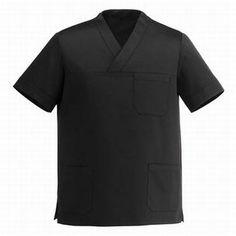 Casacca Black con collo a V. Tessuto 35% cot. 65% pol. Disponibile nel colore NERO.