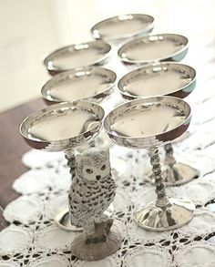 short silver champagne glasses for wide succulents     Saw in Culpepper shop;) Google Image Result for http://eversolovely.com/wp-content/uploads/2011/11/ever-so-lovely-vintage-silver-spanish-glasses.jpg