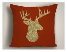 Red Christmas Throw Pillows with Gold Glitter by StickandPatti