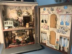 Inside the German blue roof house renovated by Joan Joyce. Antique Dollhouse, Dollhouse Dolls, Antique Dolls, Vintage Dolls, Dollhouse Miniatures, Vintage Stuff, Miniature Rooms, Miniature Furniture, Dollhouse Furniture