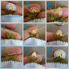 35 Piece Easy Needle Lace Models and Illustrated Explanations Needle Tatting, Needle Lace, Crochet Leaves, Crochet Flowers, Thread Art, Embroidery Thread, Viking Tattoo Design, Sunflower Tattoo Design, Hand Applique