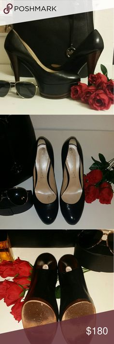 👗👗FLASH  SALE 👗👗CASADEI Platform Pump BLACK CASADEI Platform Pump BLACK. Brown wood look heel. These shoes are GORGEOUS and are in GREAT SHAPE!  Size 9B Casadei Shoes Platforms
