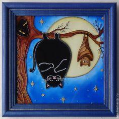 """Юмор ручной работы. Ярмарка Мастеров - ручная работа Витражная картина """"Здравствуй, я твоя мышка!"""" роспись по стеклу. Handmade."""