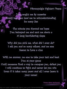 Fibromyalgia Fighters (a poem) Pemaila Silois McDonald ~ http://www.dailystrength.org/c/Fibromyalgia/forum/6938563-fibromyalgia-fighters-poem