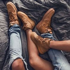 Those are my boots but I would never have my shoes on the bed and you would be on your back on the floor (more room)