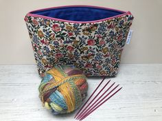 Liberty fabric knitting project bag, Crochet project bag, toiletry bag, Gift for a knitter, Craft storage Toiletry Storage, Toiletry Bag, Fox Fabric, Cotton Fabric, Knitting Projects, Crochet Projects, Liberty Fabric, Retro Floral, Hand Wrap