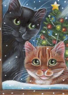 Black & Orange Tabby Cats Christmas Tree - Painting in Acrylics