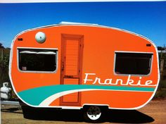 """Frankie"" 1970's Franklin - orange with teal & white detail 
