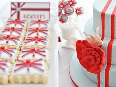 "Gorgeous ""British Invasion"" Bridal Brunch // Hostess with the Mostess® British Cookies, British Cake, British Party, British Wedding, British Biscuits, Pippa Middleton, Fudge Pops, London Party, British Invasion"