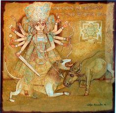 "'Durga(2)' - Nitya Kundu - Tempera - 20"" x 20"""