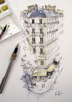Travel drawing ideas urban sketchers 39 ideas for 2019 Watercolor Architecture, Architecture Drawings, Drawing Sketches, Art Drawings, Drawing Ideas, Cat Sketch, Pen And Wash, Kunst Poster, Illustration Art