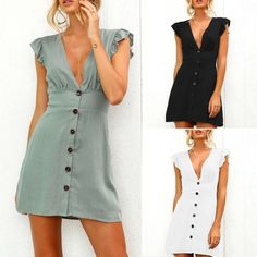 c8c91919dea Women Plunge V Neck Button Sleevless Vest Dresses Summer Beach Sundress