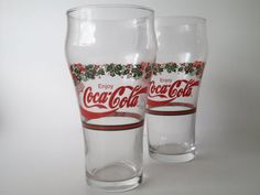 Vintage Coca Cola Christmas Holly Glass by DetroitRockabetty, $12.99