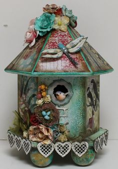 Altered Birdhouse By ASoulGirl l using the Reneabouquets Magical Dragonflies~  Where can you add these dragonflies to your collection: www.Reneabouquets.com  and  https://www.etsy.com/shop/Reneabouquets
