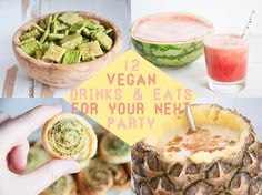 12 Vegan Drinks & Eats for your next Party with Spinach & Sesame Crackers, Watermelon Amaretto Bowl, Wild Garlic Pesto Snails and Pineapple Coconut Cocktail Vegan Appetizers, Vegan Snacks, Vegan Recipes, Vegan Foods, Sweet Recipes, Party Dip Recipes, Summer Recipes, Wild Garlic Pesto, Vegan Party Food