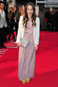 Pin for Later: All the Made in Chelsea Girls' Finest Fashion Moments  Rosie opted for a pale maxi dress and white blazer livened up with bright yellow heels for the premiere of The Lucky One in April 2012.