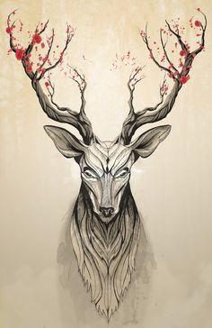 Deer tree Art Print                                                                                                                                                                                 Mais