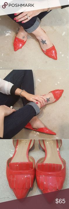 Banana Republic Red Leather Loafer Flats I am selling  the most sensational pair of Banana Republic flats.  Menswear inspired oxfords these are a style standout in everyway!!  The pop of red color with a pearl sheen and the pointy toe, ballet flat make these both confortable and incredibly cool!  Leather upper and sole these will stand the test of time.  Excellent condition, worn twice, size 8.5. Banana Republic Shoes Flats & Loafers