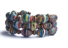 Rainbow Bead Bracelet- Paper Bead Jewelry - Rainbow Striped Memory Wire Bracelet -Beaded Coil Bracelet