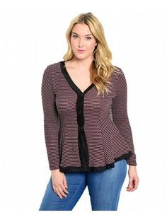 Wine Country Sweater $44  Richly textured button front sweater top has long sleeves, a flattering edged neckline, and flared peplum waist.  #alight #plussize #plussizefashion #fall #sweaters #sweater #cute #trend #trendy #cardigan #red #wine #buttons #pattern