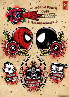 Spider-man tattoo designs in traditional American! @Netisha Simpson Simpson Simpson Simpson :)