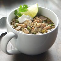 White Chicken Chili- a favorite recipe to make in the Deep Covered Baker in now time in the microwave