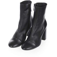 Topshop Happy-Days Toe Cap Boots ($73) ❤ liked on Polyvore featuring shoes, boots, ankle booties, leather boots, high heel caps, high heel booties, leather ankle booties and ankle boots
