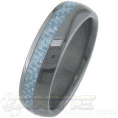 Black Zirconium Ring with Offset Carbon Fiber Inlay, Carbon Fiber Rings - Titanium-Buzz.com