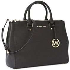 Womens Shoulder Bags Michael Kors Sutton Large Black Leather Tote ($490) ❤ liked on Polyvore featuring bags, handbags, tote bags, black leather handbags, leather purse, black leather tote, leather tote bags and michael kors purses
