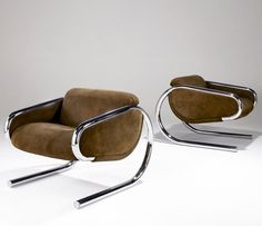 Harvey Probber Lounge Chairs | Brown suede upholstery on polished chrome cantilevered frames