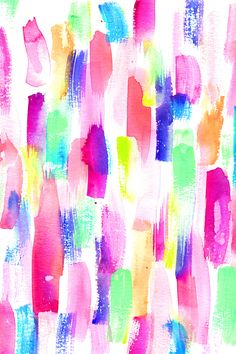 Colorful deconstructed rainbow paint daubs by erinanne.  Neon pink yellow, green, blue, and purple in big bold paint strokes.  Available in fabric, wallpaper, and gift wrap.