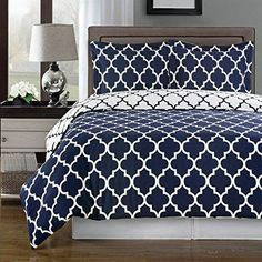 Navy and White Meridian Full / Queen 3-piece Duvet-Cover-Set 100 % Egyptian Cotton 300 TC