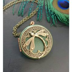 Dragonfly Locket Pendant Necklace Vintage Style Antique brass Ornately... ($45) ❤ liked on Polyvore featuring jewelry, pendants, pendant jewelry, charm pendant, locket pendant necklace, dragonfly pendant and antique brass jewelry
